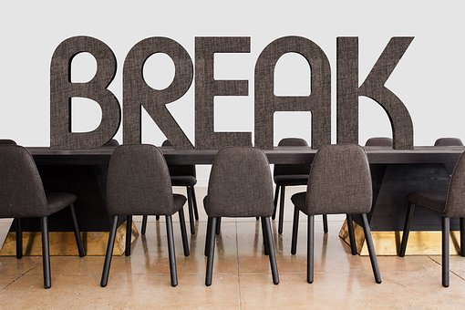 The Break sign of office - the result of business interruption